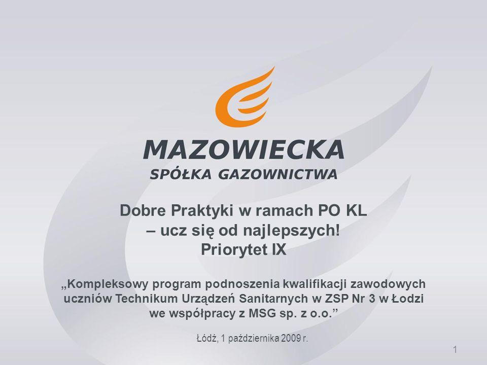 1 Dobre Praktyki w ramach PO KL – ucz się od najlepszych! Priorytet IX Łódź, 1 października 2009 r. Kompleksowy program podnoszenia kwalifikacji zawod