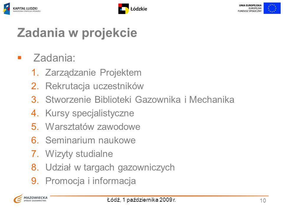 Łódź, 1 października 2009 r. 10 Zadania w projekcie Zadania: 1.Zarządzanie Projektem 2.Rekrutacja uczestników 3.Stworzenie Biblioteki Gazownika i Mech
