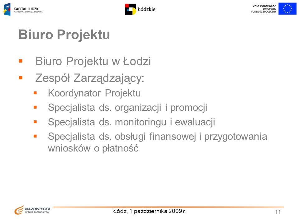 Łódź, 1 października 2009 r. 11 Biuro Projektu Biuro Projektu w Łodzi Zespół Zarządzający: Koordynator Projektu Specjalista ds. organizacji i promocji