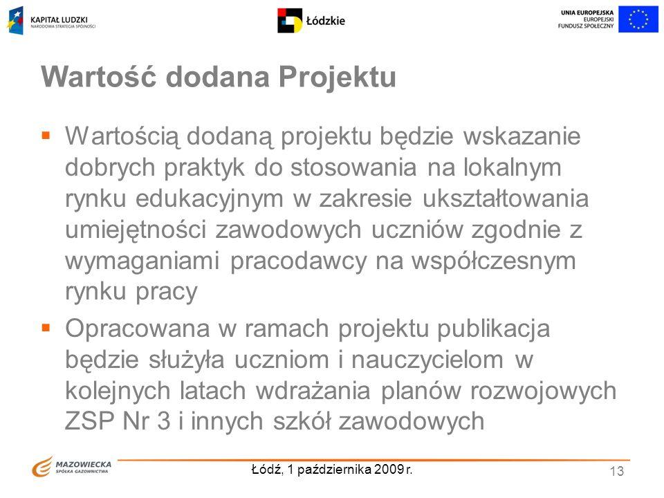 Łódź, 1 października 2009 r. 13 Wartość dodana Projektu Wartością dodaną projektu będzie wskazanie dobrych praktyk do stosowania na lokalnym rynku edu