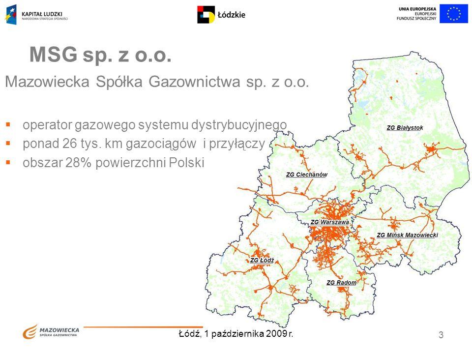 Łódź, 1 października 2009 r. 3 MSG sp. z o.o. Mazowiecka Spółka Gazownictwa sp. z o.o. operator gazowego systemu dystrybucyjnego ponad 26 tys. km gazo
