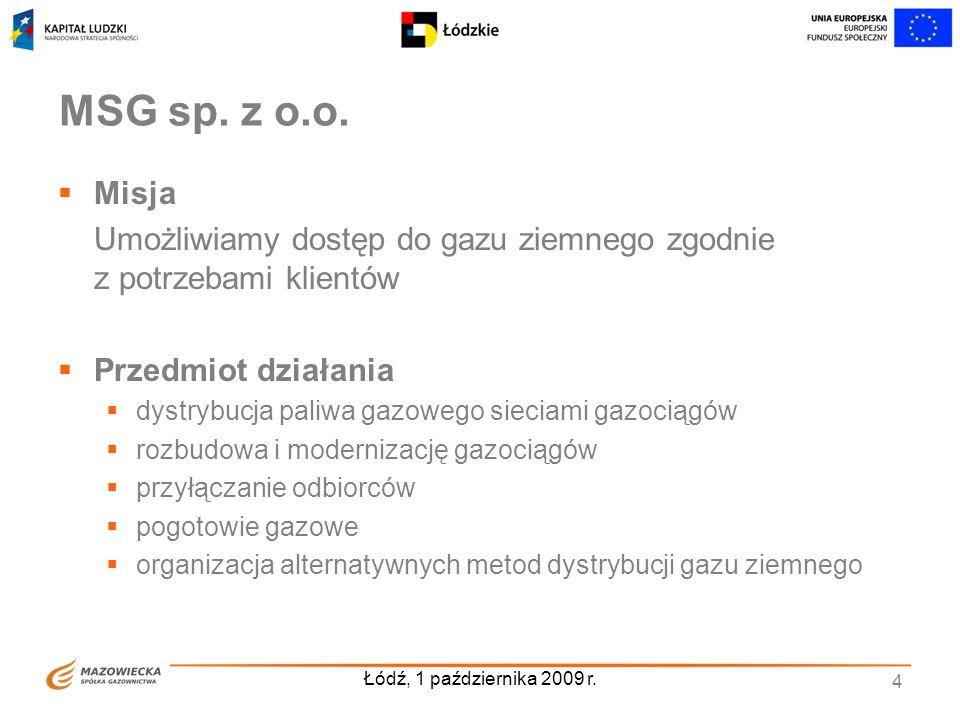Łódź, 1 października 2009 r. 4 MSG sp. z o.o. Misja Umożliwiamy dostęp do gazu ziemnego zgodnie z potrzebami klientów Przedmiot działania dystrybucja