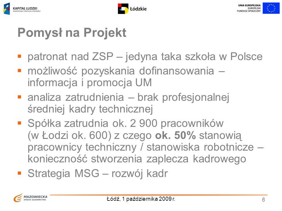 Łódź, 1 października 2009 r. 6 Pomysł na Projekt patronat nad ZSP – jedyna taka szkoła w Polsce możliwość pozyskania dofinansowania – informacja i pro