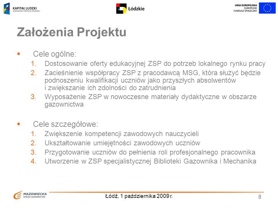 Łódź, 1 października 2009 r. 8 Założenia Projektu Cele ogólne: 1.Dostosowanie oferty edukacyjnej ZSP do potrzeb lokalnego rynku pracy 2.Zacieśnienie w