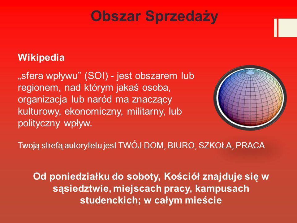 Obszar Sprzedaży Wikipedia sfera wpływu (SOI) - jest obszarem lub regionem, nad którym jakaś osoba, organizacja lub naród ma znaczący kulturowy, ekonomiczny, militarny, lub polityczny wpływ.