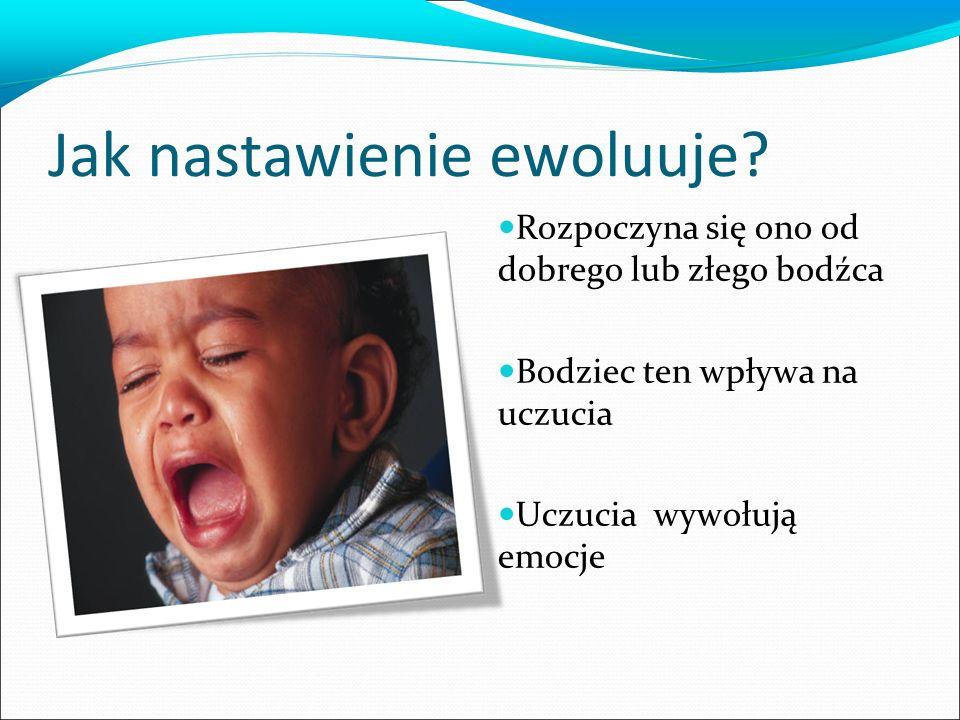Jak nastawienie ewoluuje? Rozpoczyna się ono od dobrego lub złego bodźca Bodziec ten wpływa na uczucia Uczucia wywołują emocje