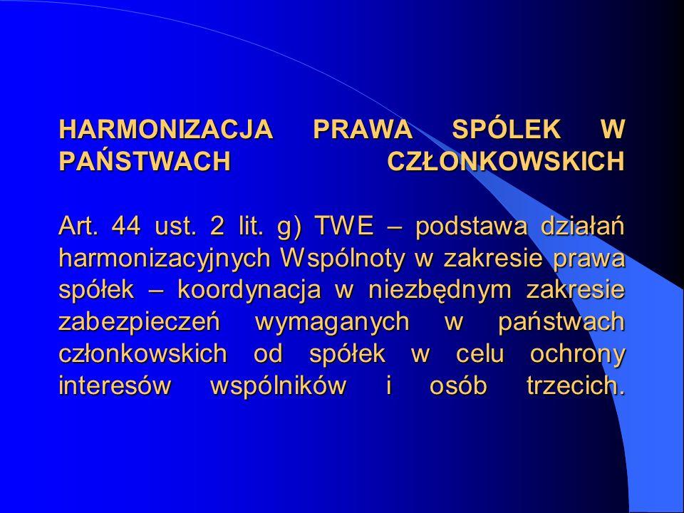 HARMONIZACJA PRAWA SPÓLEK W PAŃSTWACH CZŁONKOWSKICH Art. 44 ust. 2 lit. g) TWE – podstawa działań harmonizacyjnych Wspólnoty w zakresie prawa spółek –