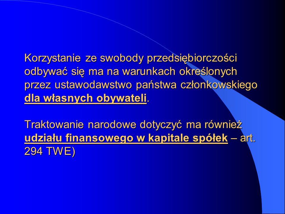 Korzystanie ze swobody przedsiębiorczości odbywać się ma na warunkach określonych przez ustawodawstwo państwa członkowskiego dla własnych obywateli. T