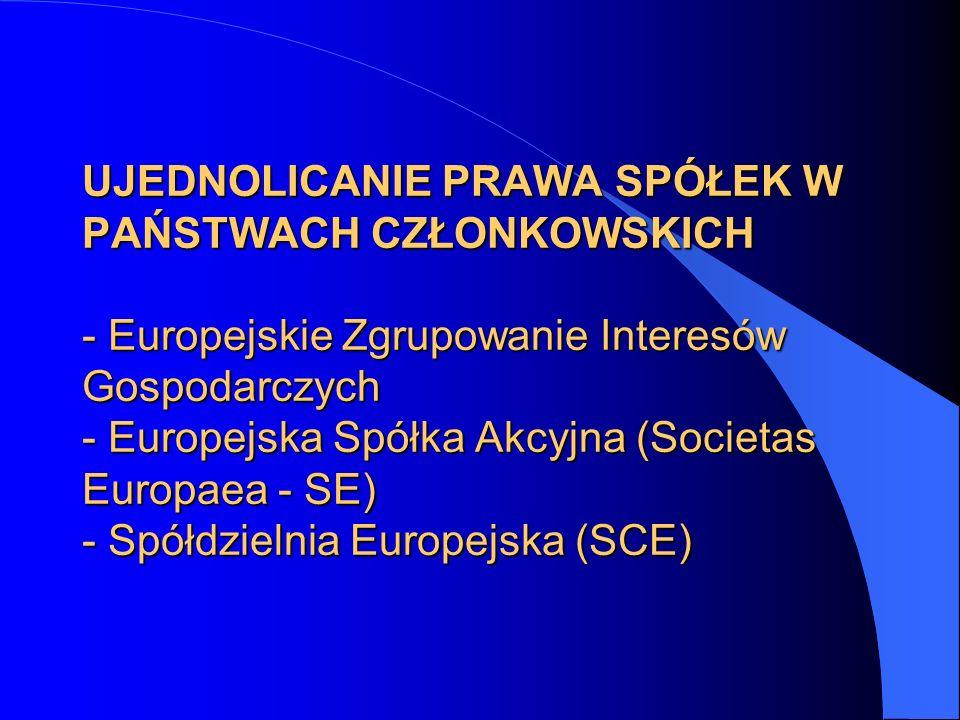 UJEDNOLICANIE PRAWA SPÓŁEK W PAŃSTWACH CZŁONKOWSKICH - Europejskie Zgrupowanie Interesów Gospodarczych - Europejska Spółka Akcyjna (Societas Europaea