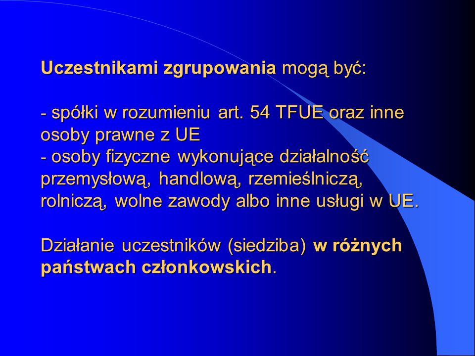 Uczestnikami zgrupowania mogą być: - spółki w rozumieniu art. 54 TFUE oraz inne osoby prawne z UE - osoby fizyczne wykonujące działalność przemysłową,