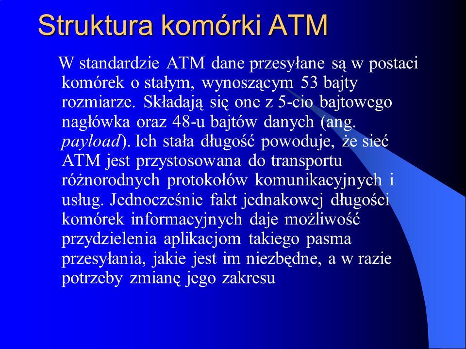 Struktura komórki ATM W standardzie ATM dane przesyłane są w postaci komórek o stałym, wynoszącym 53 bajty rozmiarze. Składają się one z 5-cio bajtowe