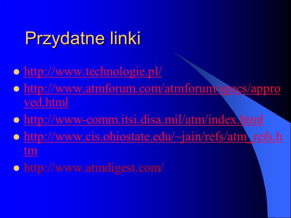 Przydatne linki http://www.technologie.pl/ http://www.atmforum.com/atmforum/specs/appro ved.html http://www.atmforum.com/atmforum/specs/appro ved.html