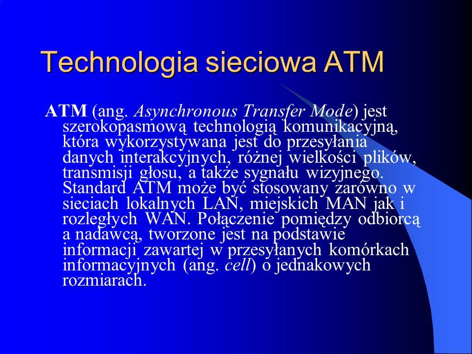 Technologia sieciowa ATM ATM (ang. Asynchronous Transfer Mode) jest szerokopasmową technologią komunikacyjną, która wykorzystywana jest do przesyłania