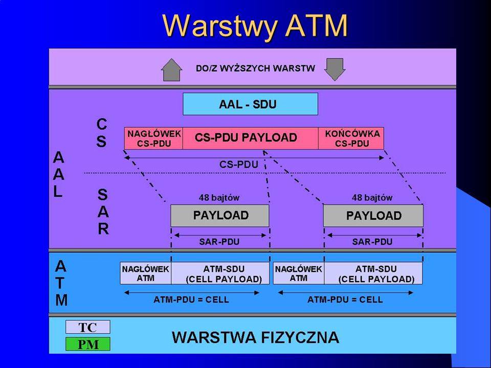 Funkcje warstw Funkcje wyższych warstw ISOWyższe warstwy ISO Podwarstwa zbieżnościCS AAL Podwarstwa segmentacji i składaniaSAR Sterowanie przepływem informacji Generacja i wydzielanie nagłówka Translacja identyfikatora ścieżki logicznej/kanału logicznego Multipleksacja i demultipleksacja komórek ATM Dopasowywanie szybkości transmisji komórek Generowanie i weryfikacja nagłówka komórki Wydzielanie komórek ze strumienia bitów Adaptacja ramki transmisyjnej Generowanie i odtwarzanie ramki transmisyjnej TC Warstwa fizyc zna Realizacja podstawy czasu Funkcje łącza fizycznego PM