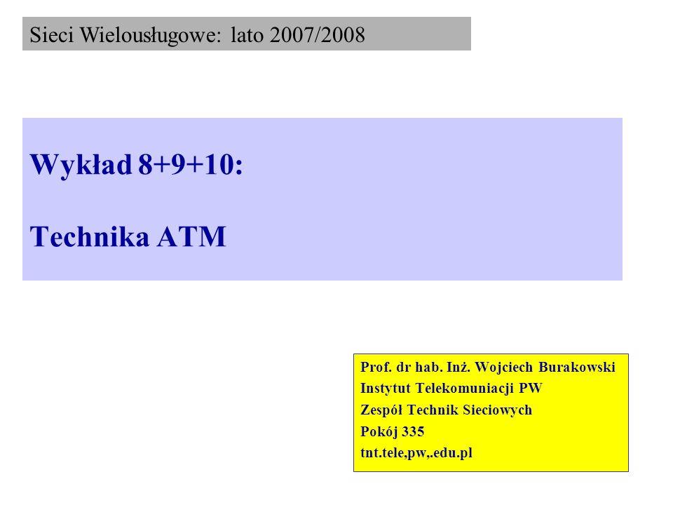 Wykład 8+9+10: Technika ATM Prof. dr hab. Inż. Wojciech Burakowski Instytut Telekomuniacji PW Zespół Technik Sieciowych Pokój 335 tnt.tele,pw,.edu.pl