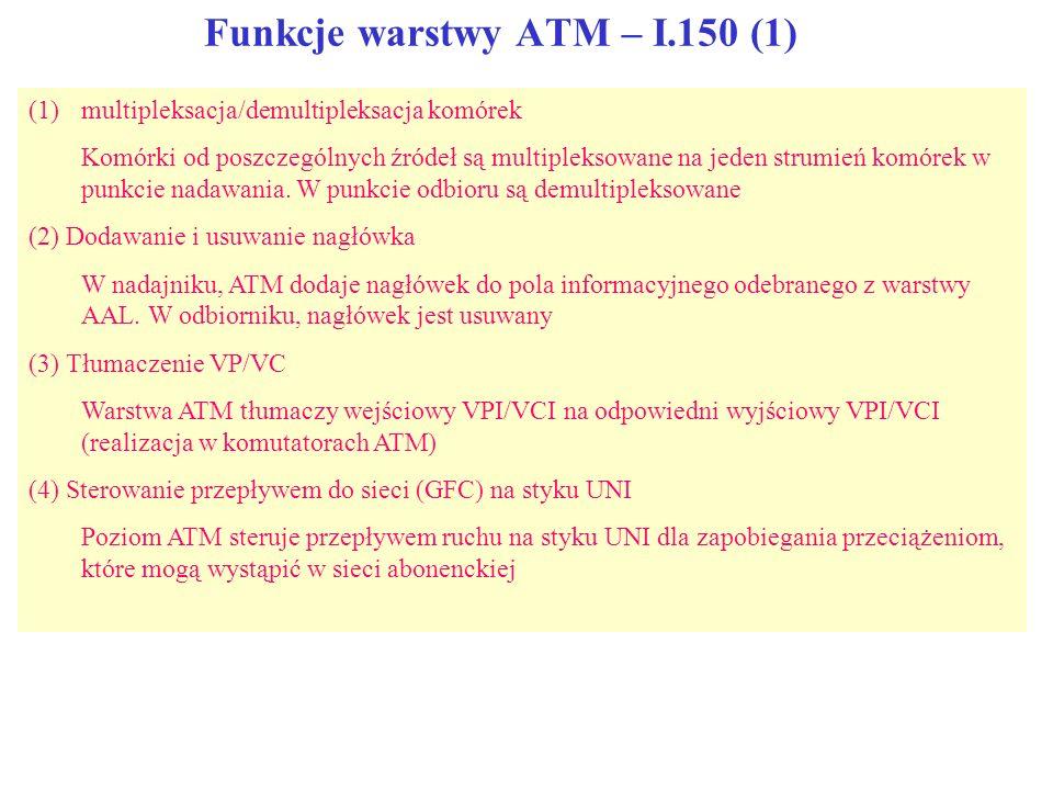 Funkcje warstwy ATM – I.150 (1) (1)multipleksacja/demultipleksacja komórek Komórki od poszczególnych źródeł są multipleksowane na jeden strumień komór