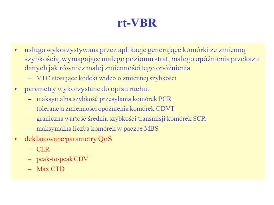 rt-VBR usługa wykorzystywana przez aplikacje generujące komórki ze zmienną szybkością, wymagające małego poziomu strat, małego opóźnienia przekazu dan