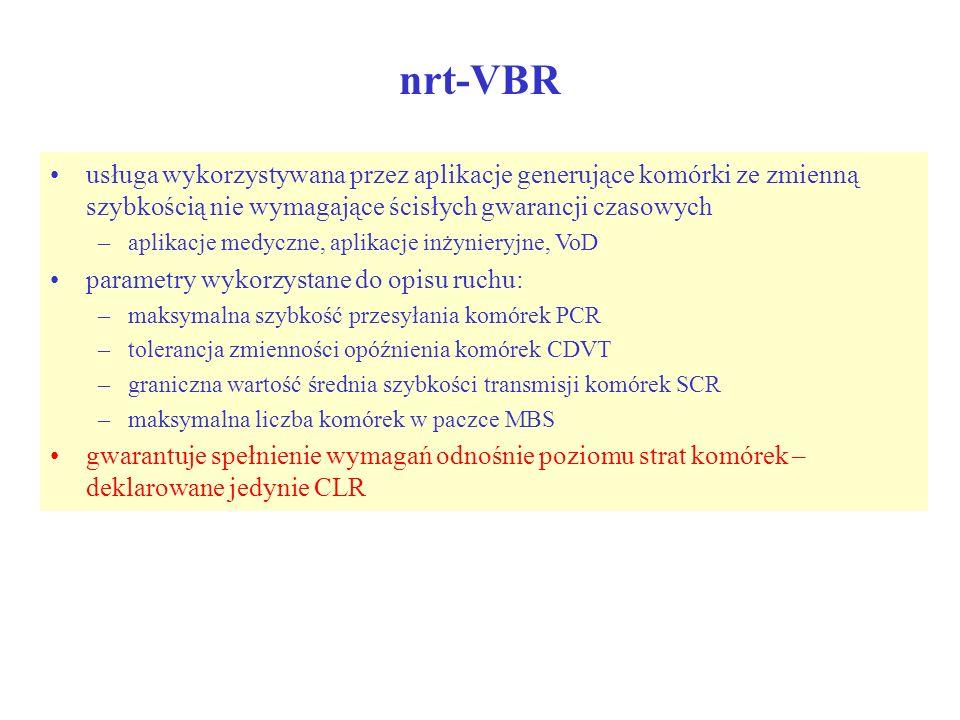 nrt-VBR usługa wykorzystywana przez aplikacje generujące komórki ze zmienną szybkością nie wymagające ścisłych gwarancji czasowych –aplikacje medyczne
