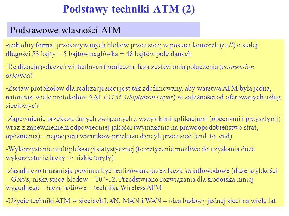 Podstawy techniki ATM (3) zalecenia ITU NTI System transmisyjny System komutacji System transmisyjny Sieć publiczna B-ISDN Sprzęt użytkownika System transmisyjny NNI TB użytkownik Sieć publiczna B- ISDN Podstawy B-ISDN I121: szerokopasmowe aspekty ISDN Architektura sieci, sygnalizacja I311: Aspekty sieciowe Usługi; I121: Usługi BISDN Słownictwo; I113: B-ISDN Modelowanie I321: Model odniesienia dla protokołów I327: Architektura B-ISDN OAM I610: Podstawy OAM Sygnalizacja UNI Q.2120: Meta signaling Q.2100,10,30,40: Sygnalizacja AAL Q.2951: usługi uzupełniające Warstwa ATM I.150 Funkcje warstwy ATM I.261: Funkcje nagłówka ATM Warstwa adaptacyjna ATM I.362 Funkcje warstwy AAL I.363: Opis warstwy AAL UNI I.413 Struktura UNI I.261: Warstwa fizyczna UNI Zarządzanie ruchem I.371 Sterowanie ruchem, sterowanie przeciążeniami Sprawność I.356 Sprawność sieci B- ISDN łącze System transmisyjny Inne sieci łącze IWF Połączenia międzysieciowe I555: z Frame Relay I.580: z 64 kbit/s ISDN Sygnalizacja NNI Q.2761 B-ISUP Q.2730: Usługi uzupełniające NNI G.707: Hierarchia SDH G.708: Struktura ramki SDH G.709: Specyfikacja SDH G.804: Przekaz komórek ATM przez SDH