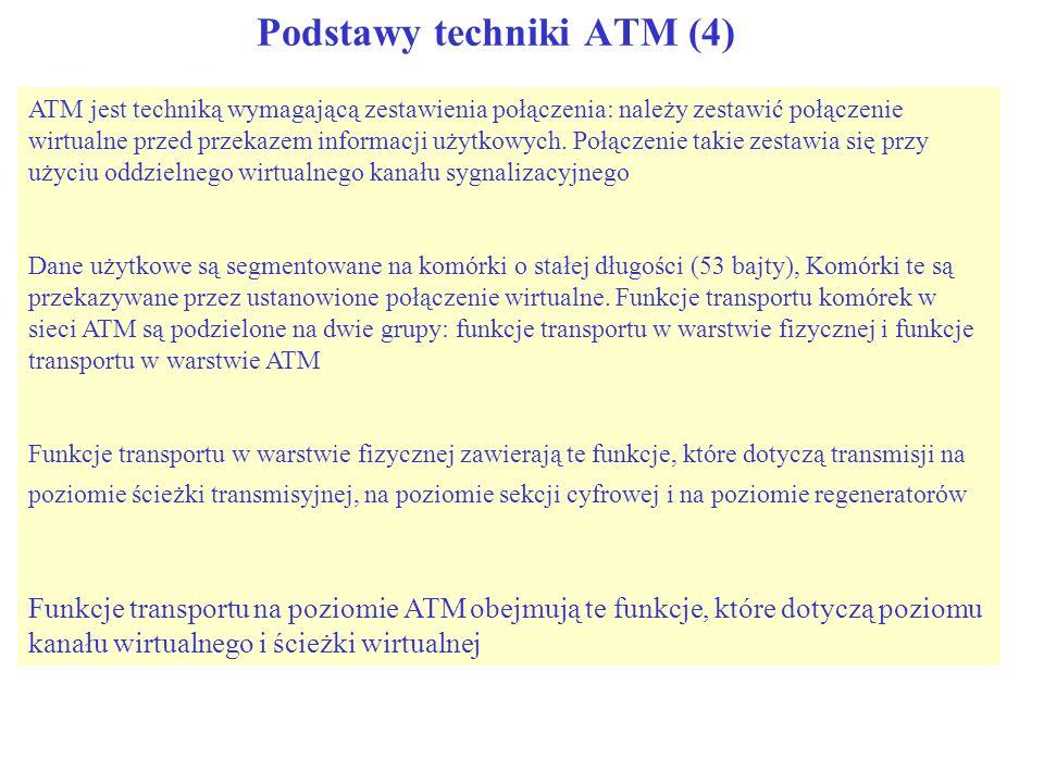 Podstawy techniki ATM (4) Poziom kanału wirtualnego Poziom ścieżki wirtualnej Poziom ścieżki transmisyjnej Poziom sekcji cyfrowej Połączenie – kanał wirtualny Połączenie – ścieżka wirtualna ścieżka transmisyjna sekcja cyfrowa sekcja regeneracji Warstwa ATM Warstwa Fizyczna Łącze VC