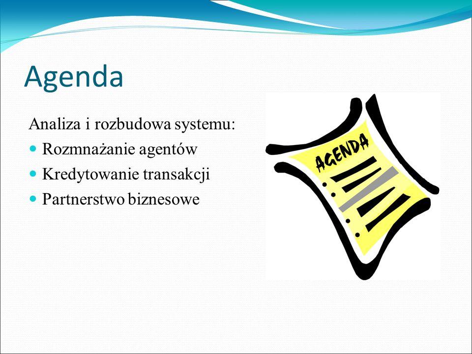 Agenda Analiza i rozbudowa systemu: Rozmnażanie agentów Kredytowanie transakcji Partnerstwo biznesowe
