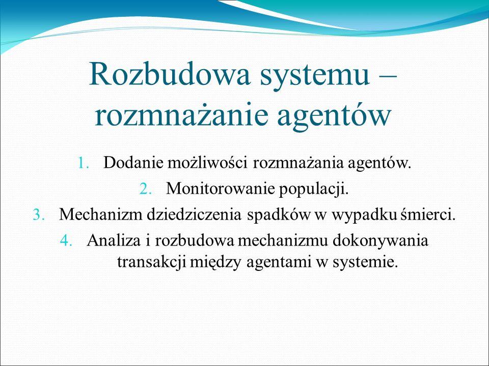 Rozbudowa systemu – rozmnażanie agentów 1. Dodanie możliwości rozmnażania agentów. 2. Monitorowanie populacji. 3. Mechanizm dziedziczenia spadków w wy