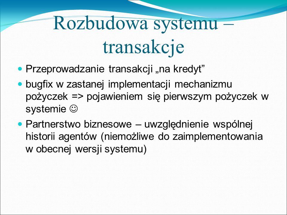 Rozbudowa systemu – transakcje Przeprowadzanie transakcji na kredyt bugfix w zastanej implementacji mechanizmu pożyczek => pojawieniem się pierwszym p