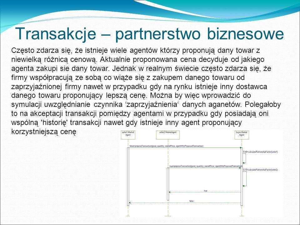 Transakcje – partnerstwo biznesowe Często zdarza się, że istnieje wiele agentów którzy proponują dany towar z niewielką różnicą cenową.