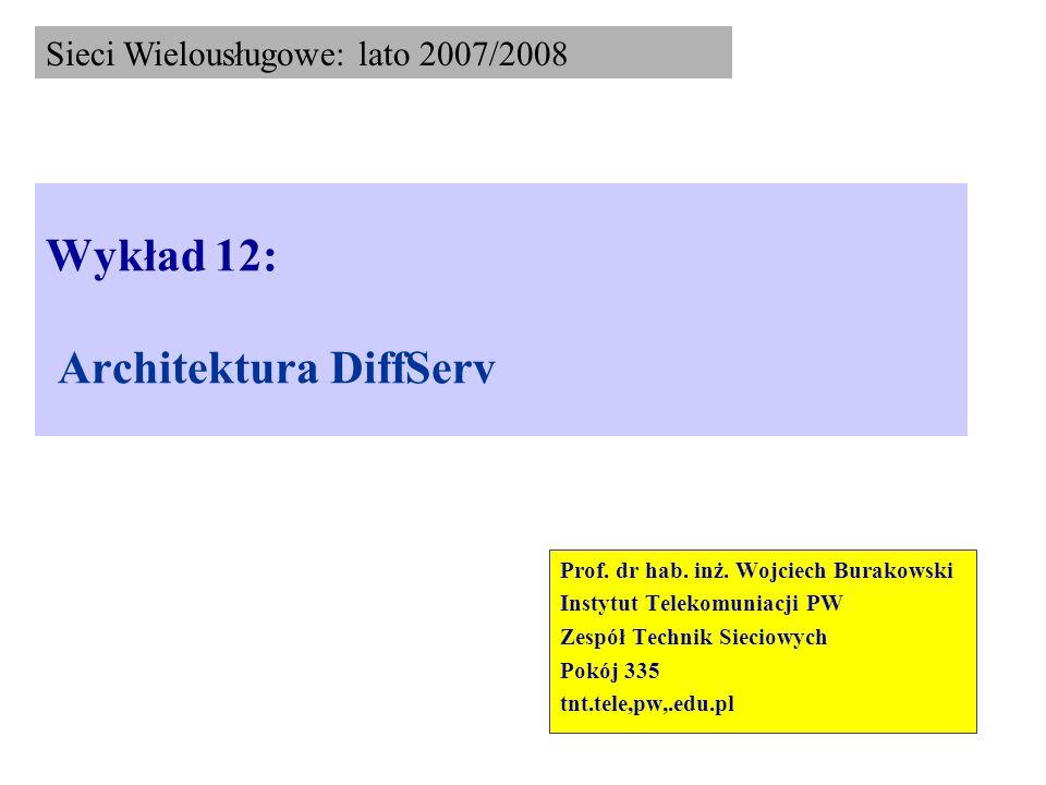 Architektura DiffServ (6) Wyróżniamy następujące elementy funkcjonalne: Klasyfikator (Classifier) – typu BA (Behaviour Aggregate) lub MF (Multi-Field), klasyfikuje pakiety IP w przypadku BA na podstawie tylko pola DSCP, natomiast w przypadku MF, dodatkowo uwzględnia się inne informacje zawarte w nagłówku pakietu IP jak np.