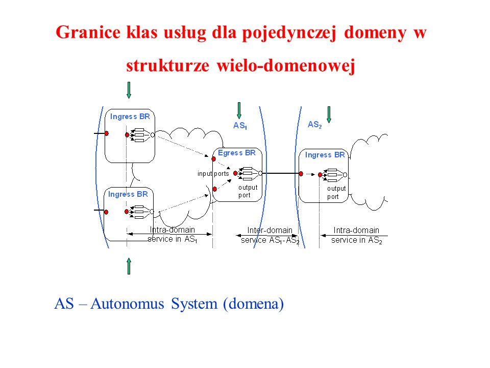 Granice klas usług dla pojedynczej domeny w strukturze wielo-domenowej AS – Autonomus System (domena)