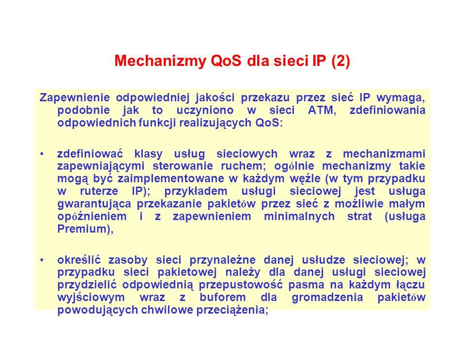 Mechanizmy QoS dla sieci IP (2) Zapewnienie odpowiedniej jakości przekazu przez sieć IP wymaga, podobnie jak to uczyniono w sieci ATM, zdefiniowania o