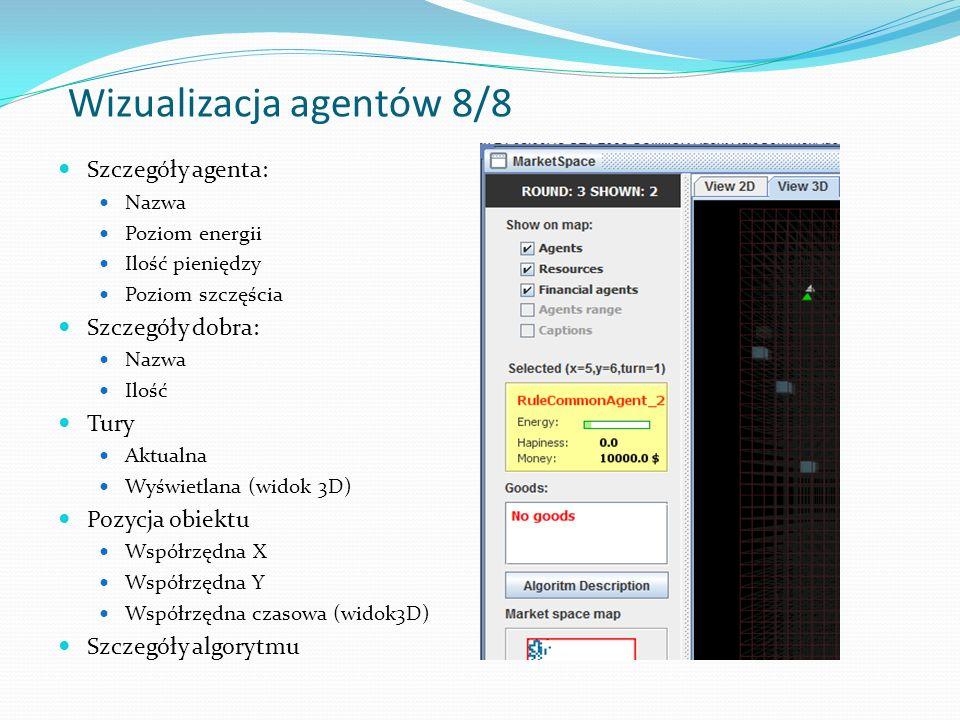 Szczegóły agenta: Nazwa Poziom energii Ilość pieniędzy Poziom szczęścia Szczegóły dobra: Nazwa Ilość Tury Aktualna Wyświetlana (widok 3D) Pozycja obiektu Współrzędna X Współrzędna Y Współrzędna czasowa (widok3D) Szczegóły algorytmu Wizualizacja agentów8/8