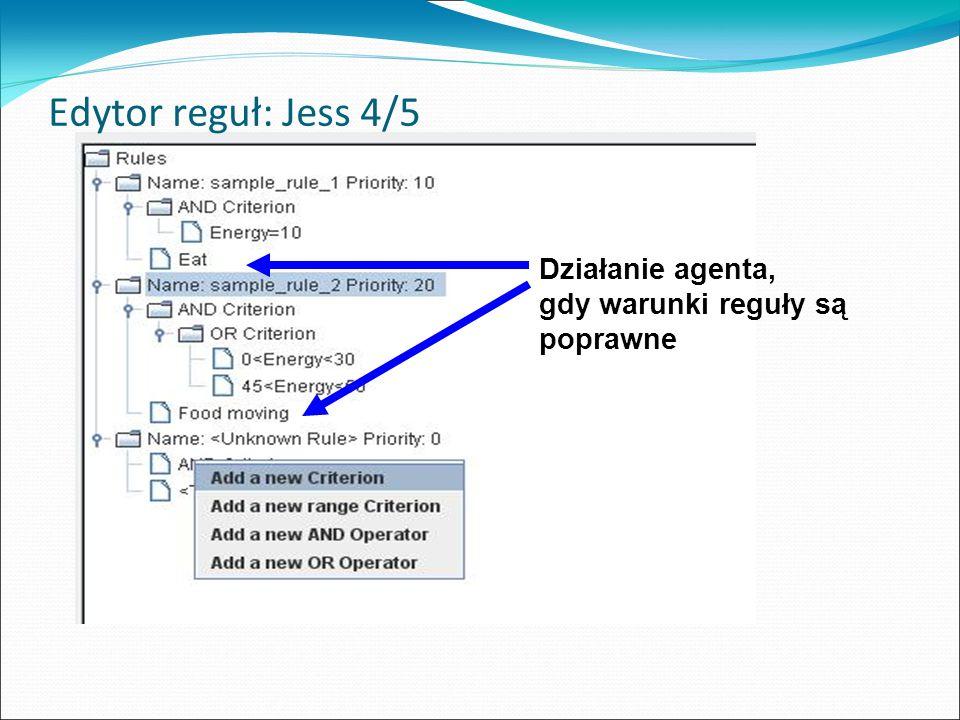 Edytor reguł: Jess 4/5 Działanie agenta, gdy warunki reguły są poprawne