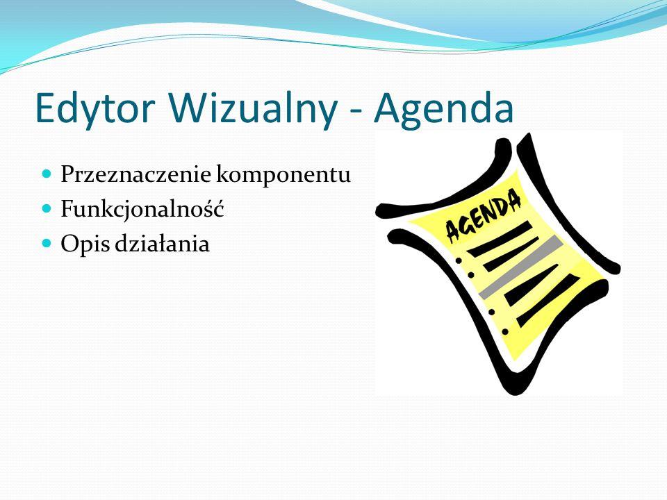 Edytor Wizualny - Agenda Przeznaczenie komponentu Funkcjonalność Opis działania