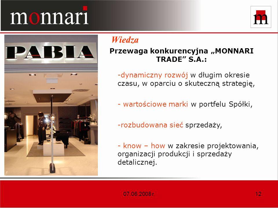 07.06.2008 r.12 Wiedza Przewaga konkurencyjna MONNARI TRADE S.A.: -dynamiczny rozwój w długim okresie czasu, w oparciu o skuteczną strategię, - wartościowe marki w portfelu Spółki, -rozbudowana sieć sprzedaży, - know – how w zakresie projektowania, organizacji produkcji i sprzedaży detalicznej.
