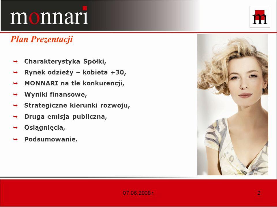 2 Charakterystyka Spółki, Rynek odzieży – kobieta +30, MONNARI na tle konkurencji, Wyniki finansowe, Strategiczne kierunki rozwoju, Druga emisja publiczna, Osiągnięcia, Podsumowanie.