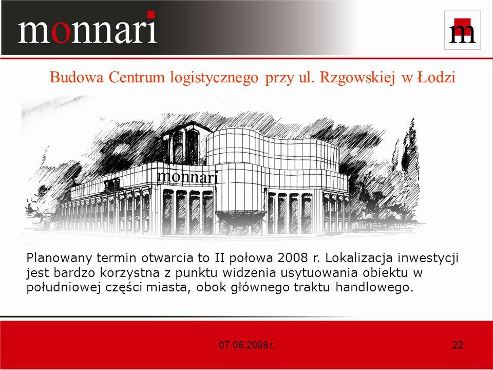 07.06.2008 r.22 Budowa Centrum logistycznego przy ul.