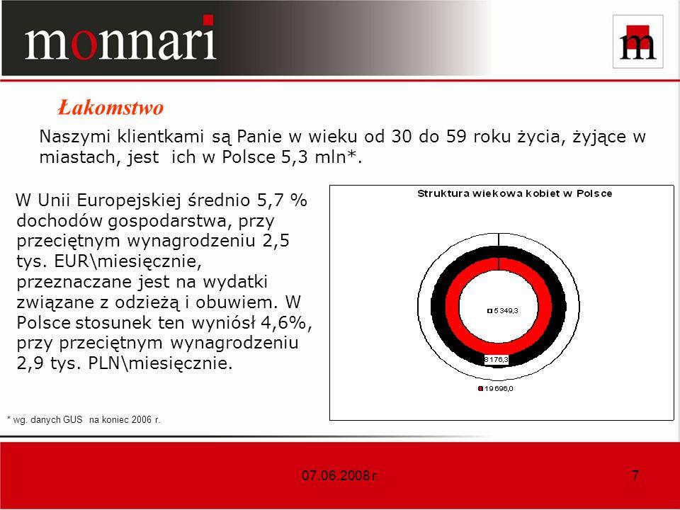 07.06.2008 r.8 Jesteśmy liderem w segmencie markowej odzieży kobiecej - jako Grupa Kapitałowa mamy 210 salonów na koniec maja 2008 r.