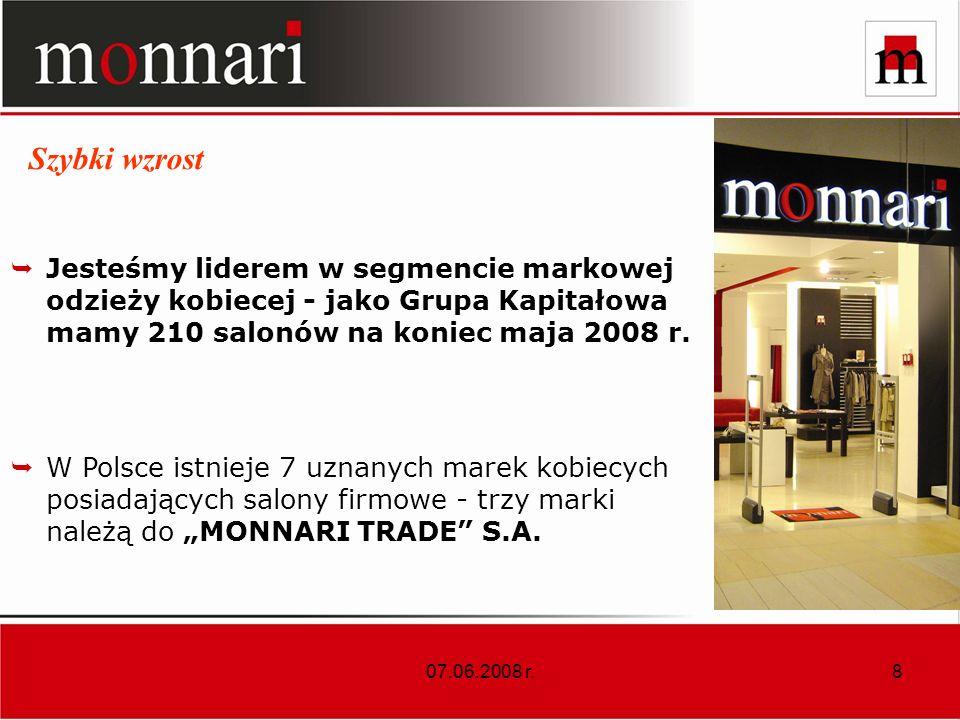 07.06.2008 r.9 Szybki wzrost Plan na 2008 r. co najmniej 78 salonów.
