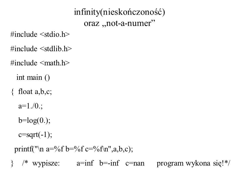 infinity(nieskończoność) oraz not-a-numer #include int main () { float a,b,c; a=1./0.; b=log(0.); c=sqrt(-1); printf(