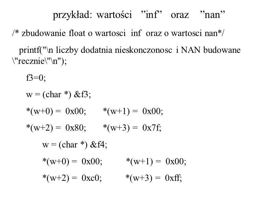 przykład: wartości inf oraz nan /* zbudowanie float o wartosci inf oraz o wartosci nan*/ printf(