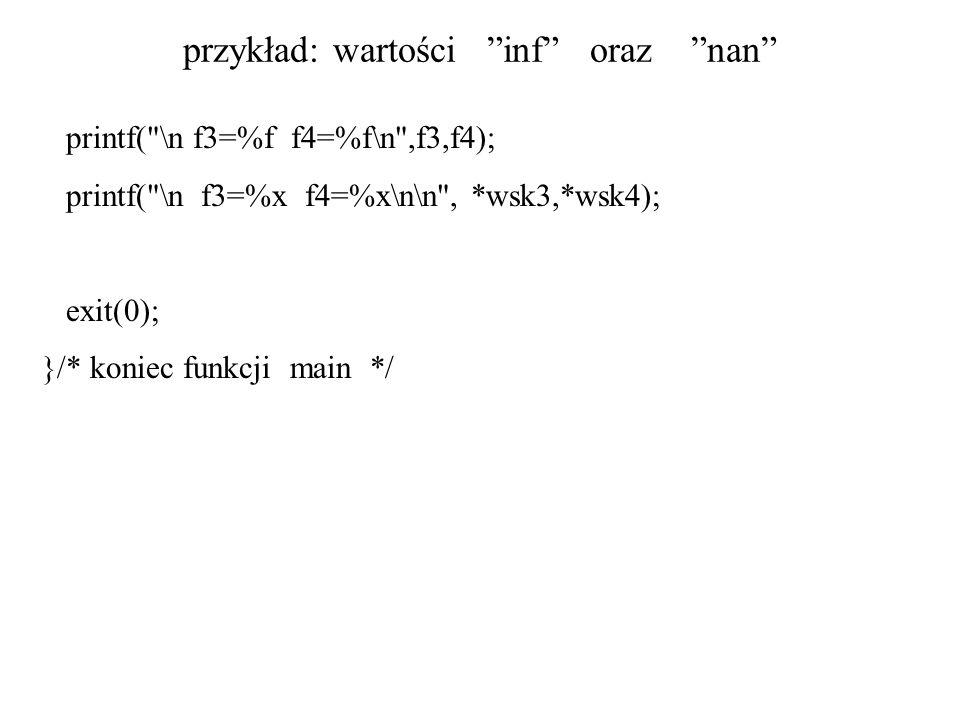 przykład: wartości inf oraz nan printf(