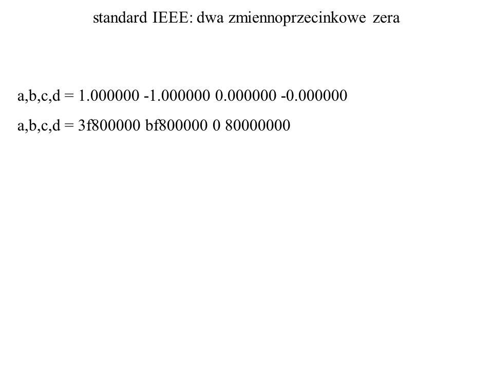 standard IEEE: dwa zmiennoprzecinkowe zera a,b,c,d = 1.000000 -1.000000 0.000000 -0.000000 a,b,c,d = 3f800000 bf800000 0 80000000