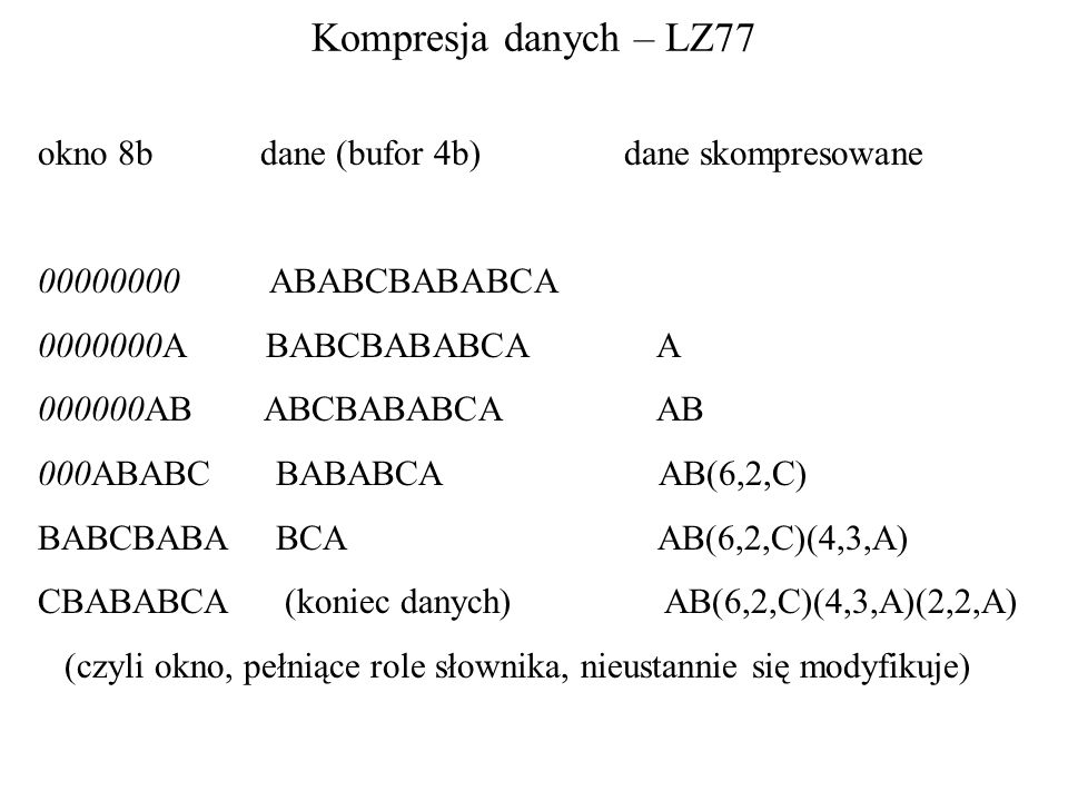 Kompresja danych – LZ77 okno 8b dane (bufor 4b) dane skompresowane 00000000 ABABCBABABCA 0000000A BABCBABABCA A 000000AB ABCBABABCA AB 000ABABC BABABC
