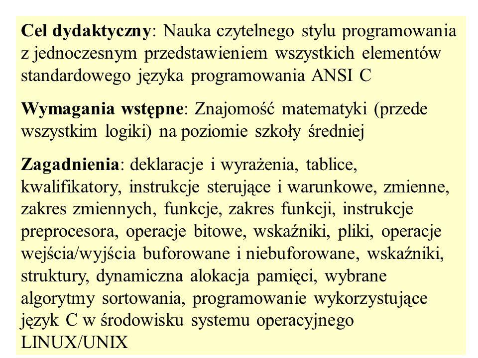 Cel dydaktyczny: Nauka czytelnego stylu programowania z jednoczesnym przedstawieniem wszystkich elementów standardowego języka programowania ANSI C Wy