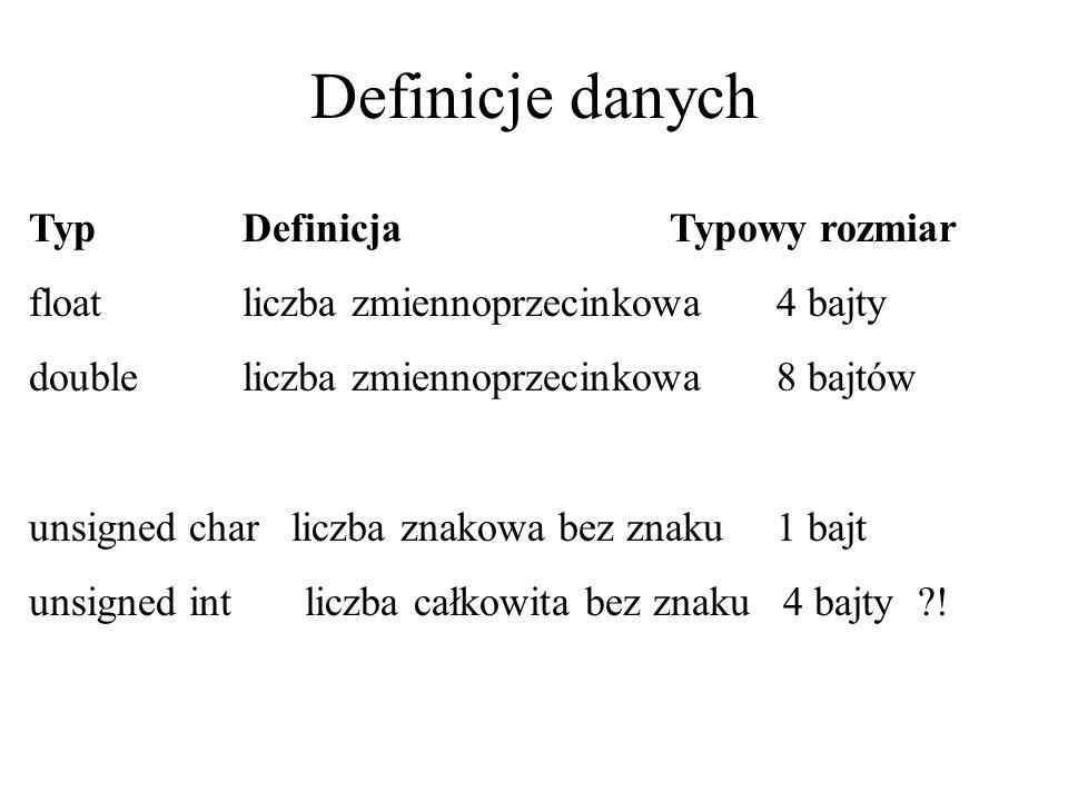 Definicje danych Typ Definicja Typowy rozmiar floatliczba zmiennoprzecinkowa4 bajty doubleliczba zmiennoprzecinkowa8 bajtów unsigned char liczba znako