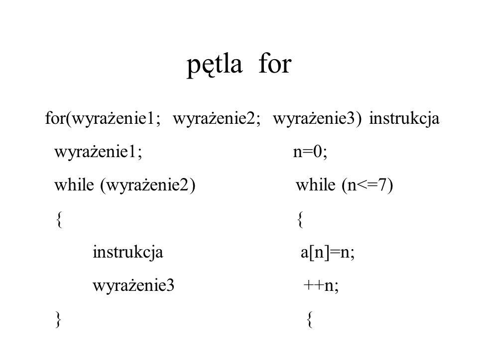 pętla for for(wyrażenie1; wyrażenie2; wyrażenie3) instrukcja wyrażenie1; n=0; while (wyrażenie2) while (n<=7) { { instrukcja a[n]=n; wyrażenie3 ++n; }