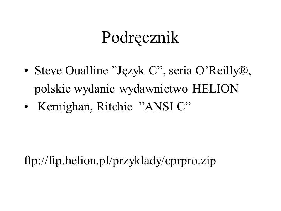 Podręcznik Steve Oualline Język C, seria OReilly®, polskie wydanie wydawnictwo HELION Kernighan, Ritchie ANSI C ftp://ftp.helion.pl/przyklady/cprpro.z