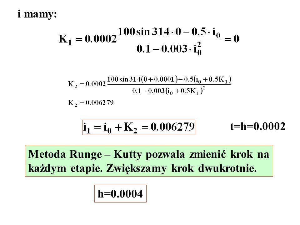 i mamy: t=h=0.0002 Metoda Runge – Kutty pozwala zmienić krok na każdym etapie. Zwiększamy krok dwukrotnie. h=0.0004