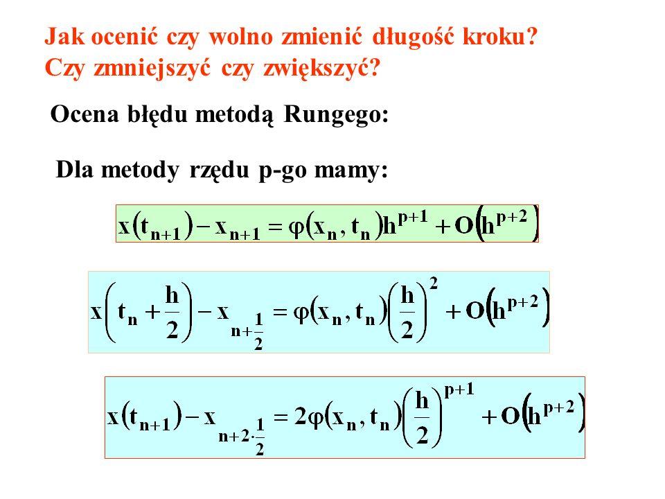 Jak ocenić czy wolno zmienić długość kroku? Czy zmniejszyć czy zwiększyć? Ocena błędu metodą Rungego: Dla metody rzędu p-go mamy: